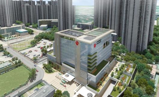 Tampak bangunan rumah sakit berintegrasi dengan bangunan sekelilingnya